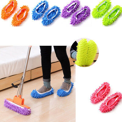 MULTI-FUNCTION CHENILLE FIBRE Washable Dust Mop Slippers Cleaning Shoes  10pcs