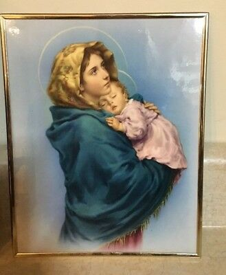 "Vintage Mary & Baby Jesus Print Framed Plaque 8"" x 10"""