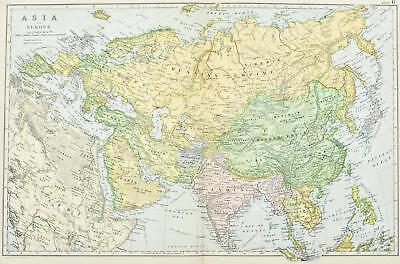 Asia Europe Russian and Chinese Empire Antique Map 1891