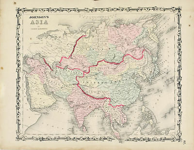 Asia Johnson Hand Colored Map 1860