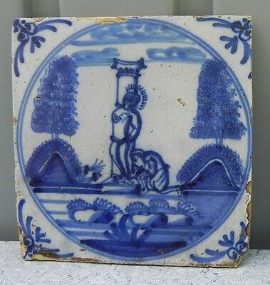 Antique Tile Delft blue religious 17th early 18th century