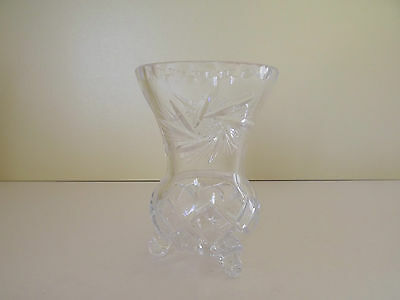Footed Lead Crystal Glass Vase with Pinwheel Pattern (63,32)