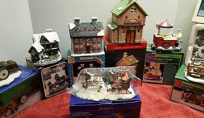 How To Store Christmas Village Houses.8 Pc Christmas Village Scene General Store Houses Animal Pen W Animals