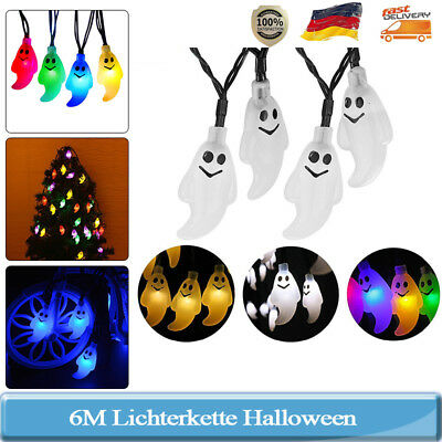 6m 30 halloween gespenst led solar lichterkette deko party. Black Bedroom Furniture Sets. Home Design Ideas