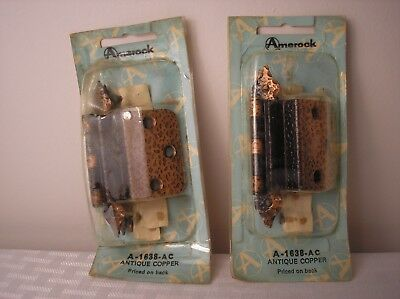 2 Vintage Mid Century Modern Amerock A-1638-AC Antique Copper Colonial Hinge
