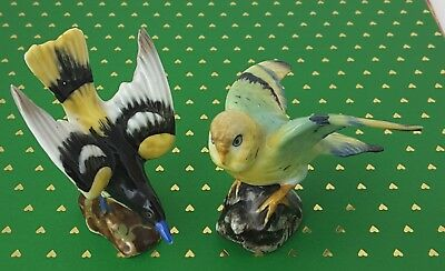 2 Vintage Miniature Fine Bone China Birds Made in Japan, Oriole and Parakeet