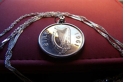 "1961 IRELAND HORSE HALF Crown on a 30"" Italian Ocean Wave Sterling Silver Chain"