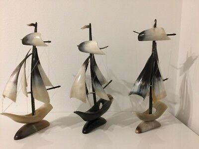 Vintage Deco Figurine Ships Sailboats Handmade Of Horns from USSR Set Of 3