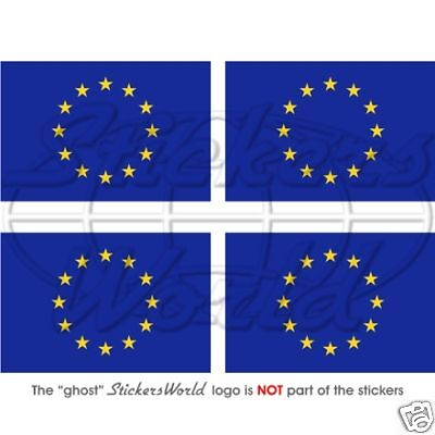 EUROPE European Union Flag 50mm Vinyl Bumper-Helmet Stickers Decals x4
