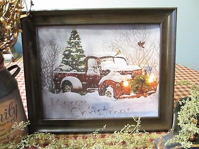 Prim* Country* Print* 8 x 10 w/frame* Red Truck* Winter Scene* Merry Christmas