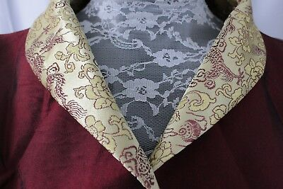 Oriental Style Chinese Jacket Silky Maroon Dragon Design 3/4 Roll Sleeve