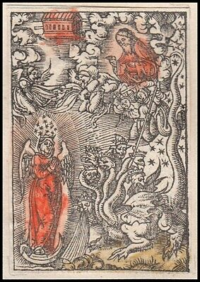 Apocalypse orig. Engraving 16th Century Memento Mori Death Dragon Angels