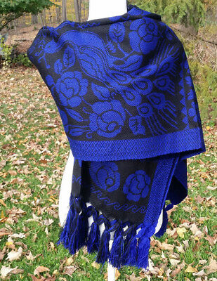 Pavo Real Fringed Cotton Rebozo Wrap Shawl Peacock 7x2.5 Mexican Black BK1