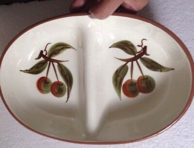 Vintage Stangl Orchard Song Divided 10 Inch Vegetable Dish Mid Century Pottery