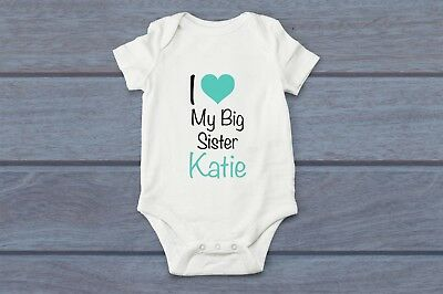 Personalised I Love Heart My Big Sister Name Baby Grow Play Body Suit Vest Girls