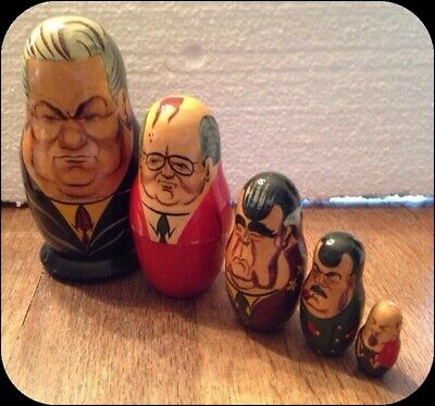 Vintage Russian Presidents Gorbachev Wooden Nesting Doll 5 piece