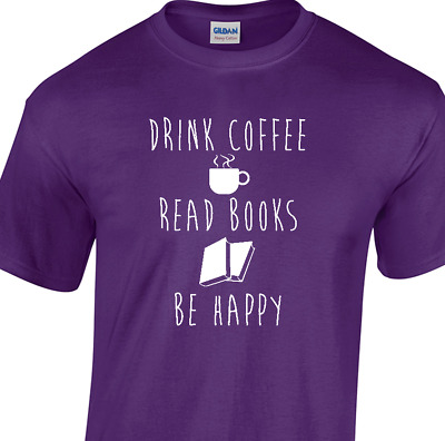 COFFEE BOOKS HAPPY T-shirt reading book lover library unisex short long