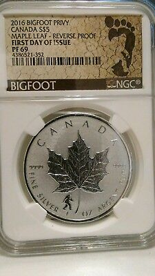 2016 reverse proof Bigfoot Maple Leaf 5 dollars