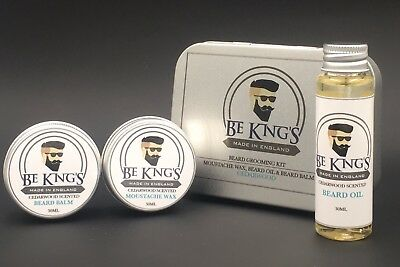 Kit Barba e Baffi Olio da Barba 30ml + Balsamo Barba 30ml + Cera Baffi 30ml