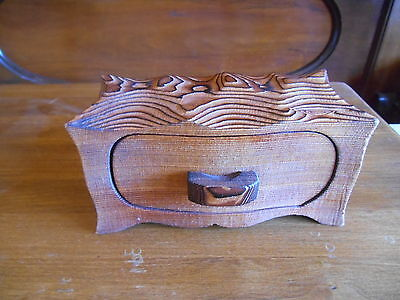Carved Wood Box Hand Carved One Piece Carving Wood Burned