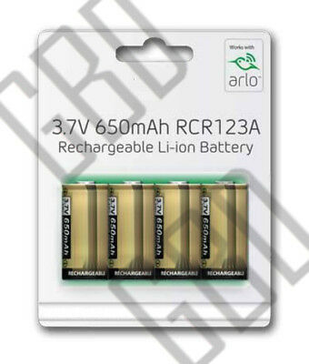 Netgear Arlo Camera Offical Rechargeable Battery Tenergy 3.7V 650mAh RCR123A 4PK