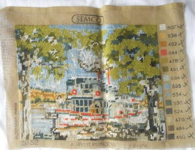 Gorgeous Vintage Completed Semco Tapestry A River Princess Paddle Steamer