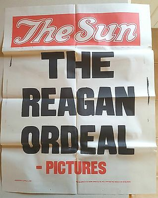 POSTER for THE SUN April 1, 1981 RONALD REAGAN SHOOTING Great Condition