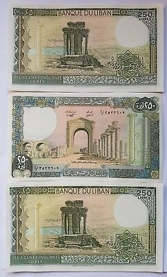 BANK of LEBANON 250 Livre note. 3 consecutive notes in mint condition Unc.