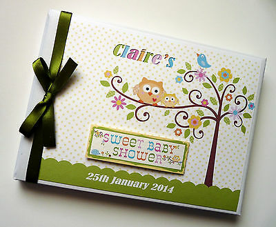 Personalised Happi Tree (Green) Baby Shower Boy/girl Guest Book - Any Design
