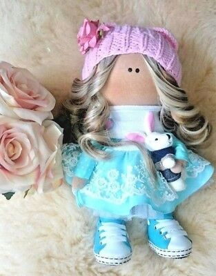 New Handmade Doll  Fabric Cloth 35 Blonde felt Girl Toy Gift Baby Stuffed Sewing