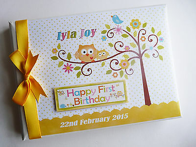 Personalised Happi Tree (Yellow) Baby Shower Boy/girl Guest Book - Any Design