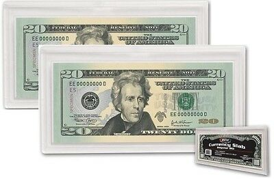 ACRYLIC  CLEAR CASE LOT OF 5 BCW REGULAR BILL CURRENCY SLAB 2 PIECE SNAP HOLDER