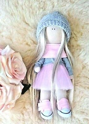 New Doll Handmade Fabric Cloth 30  Blonde Hair GirlToy Gift Kid Stretch Stuffed