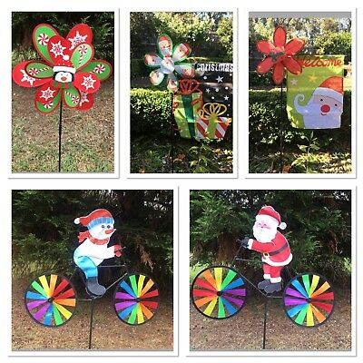 Christmas Garden Windmill Decoration-Snowman/santa On Bike Snowman Flower
