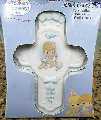 Precious Moments TYLER BABY Boy JESUS LOVES ME Personalized Cross Wall Hanging