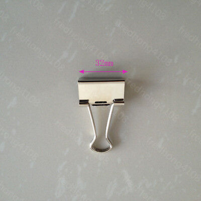 Silver Metal Binder Clip Paper Clips For Office School 32mm