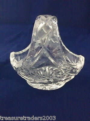 🌟 Vintage Bohemia Cut Crystal Basket Shape Heavy Trinket Keeper Dish