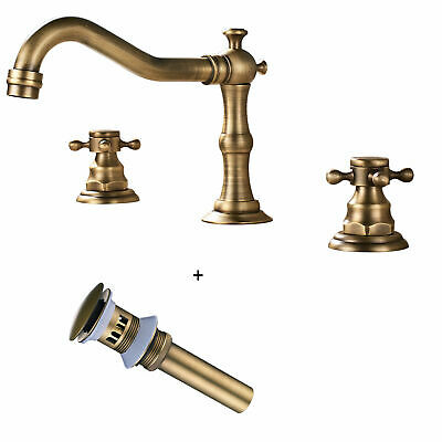 Deck Mounted Three Holes 2 Handles Widespread Bathroom Sink Faucet Antique Brass