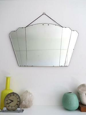 Vintage Large Art Deco Fan Shape Mirror