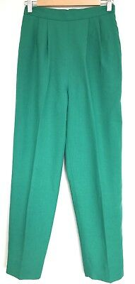 Vintage 1960s Jade Green High Waist Side Pockets Cigarette Pants S