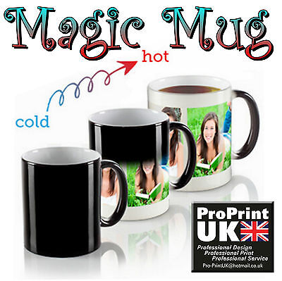 Personalised Heat Colour Changing Magic Mug Cup Image Photo Logo Text Gift