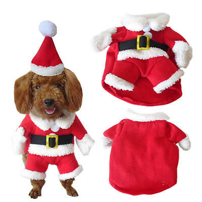 Pet Small Dog Cat Santa Claus Costume Outfit Jumpsuit Clothes For Christmas AU