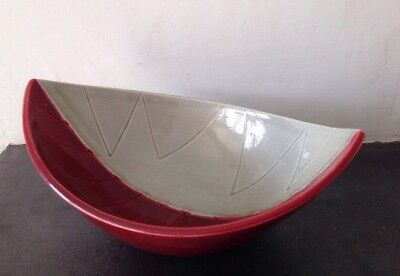 Large Red / Grey Rorstrand California Leaf Bowl By Carl-Harry Stalhane