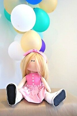 New Handmade Fabric Cloth Doll 45cm Blonde Hair Toy Gift Baby Stuffed Girl sewin