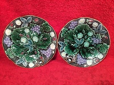 Pair of Antique Rorstrand Majolica Strawberries & Grapes Dishes c.1800's