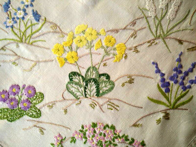 """'FAIRISTYTCH' ~Vintage Large Hand Embroidered Tablecloth~Garden Flower Beds 42+"""""""