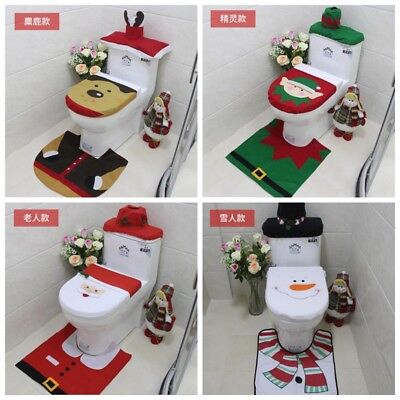 Xmas Christmas Decoration Toilet Seat Cover Set Santa Elf Reindeer Snowman