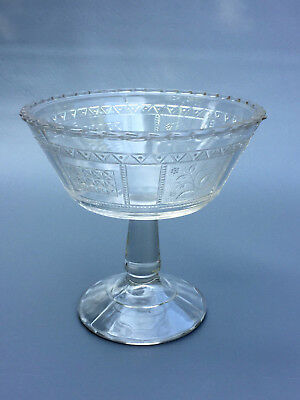Antique clear pressed glass footed compote AESTHETIC MOVEMENT 1880's