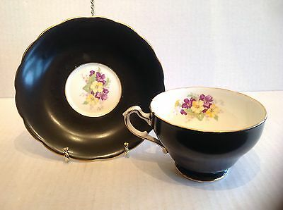 Staffordshire England Bone China Floral Black Teacup and Saucer