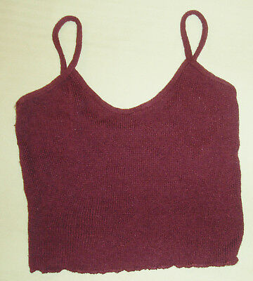 DANCE RAGS Maroon Burgundy Cami Warm Up Top Knit Ballet Dance Jazz Tap Skate S